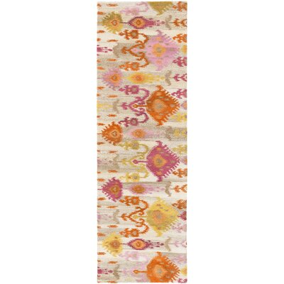 Alica Burnt Orange/Lime Ikat and Suzani Area Rug Rug Size: Runner 26 x 8
