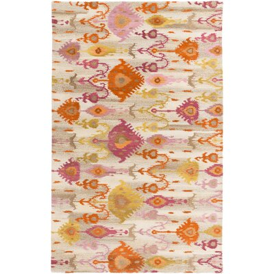 Alica Burnt Orange/Lime Ikat and Suzani Area Rug Rug Size: 5 x 8