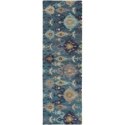 Alica Teal/Gold Ikat and Suzani Area Rug Rug Size: Runner 26 x 8