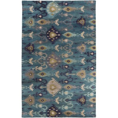 Jedediah Teal/Gold Ikat and Suzani Area Rug Rug Size: 5 x 8
