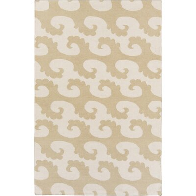 Byington Coastal Hand-Woven Wool Beige Area Rug Rug size: Rectangle 5 x 8