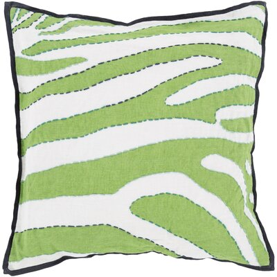 Cherrelle Linen Throw Pillow Size: 22 H x 22 W x 4 D, Color: White / Green, Filler: Down