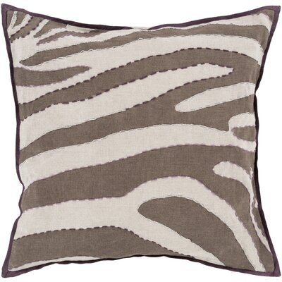 Cherrelle Linen Throw Pillow Size: 18 H x 18 W x 4 D, Color: Gray / Chocolate, Filler: Down