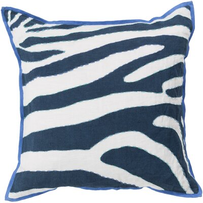 Linen Throw Pillow Size: 22 H x 22 W x 4 D, Color: Sky Blue / Navy, Filler: Polyester