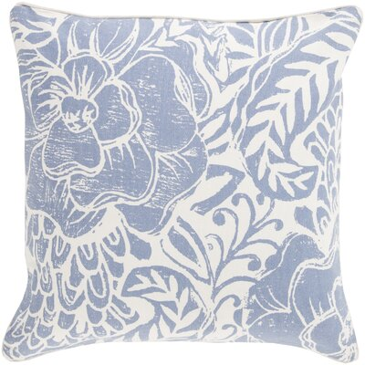 Ryele Cotton Throw Pillow Size: 22 H x 22 W x 4 D, Color: Blue, Fill Material: Down