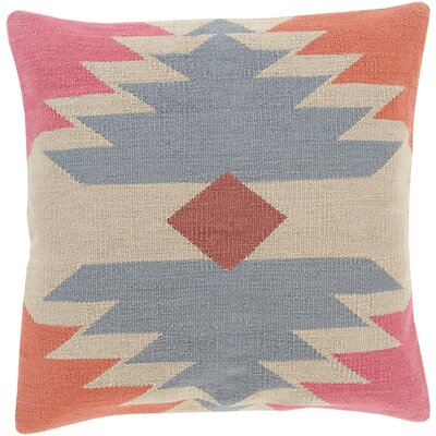 Todd Square Cotton Throw Pillow Size: 18 H x 18 W x 4 D, Color: Beige, Filler: Down