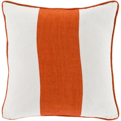 Linen Throw Pillow Size: 18 H x 18 W x 4 D, Color: Orange, Filler: Down