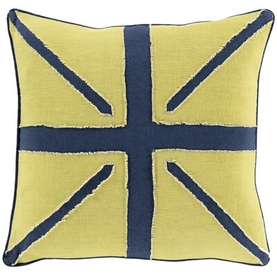 Linen Throw Pillow Size: 18 H x 18 W x 4 D, Color: Yellow/Navy, Filler: Polyester