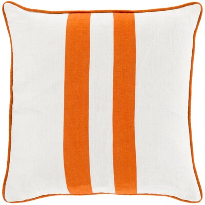 Nerys Linen Throw Pillow Size: 18 H x 18 W x 4 D, Color: Orange, Filler: Down