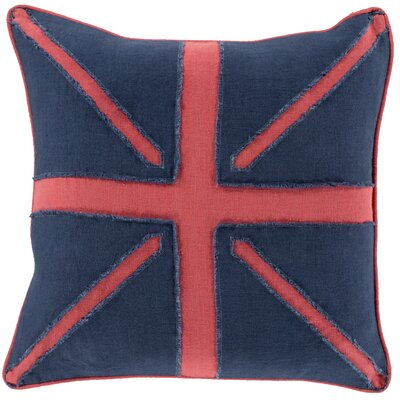 Harriotte Linen Throw Pillow Size: 22 H x 22 W x 4 D, Color: Navy/Red, Filler: Down