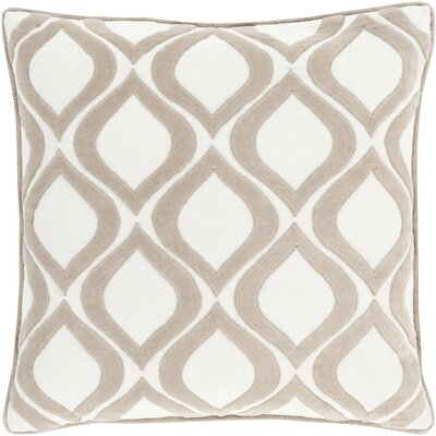 Bourbana Throw Pillow Size: 18 H x 18 W x 4 D, Color: Light Gray/Ivory, Filler: Polyester