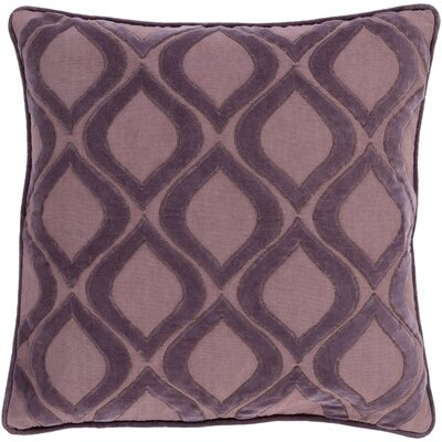 Bourbana Throw Pillow Size: 18 H x 18 W x 4 D, Color: Mauve/Charcoal, Filler: Down