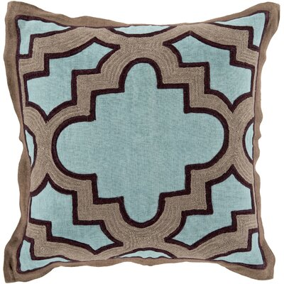 Cotton Throw Pillow Size: 18 H x 18 W x 4 D, Color: Teal/Taupe, Filler: Down