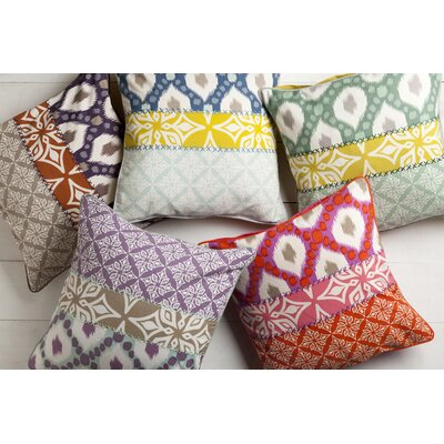 Rachida Cotton Throw Pillow Color: Green, Filler: Down