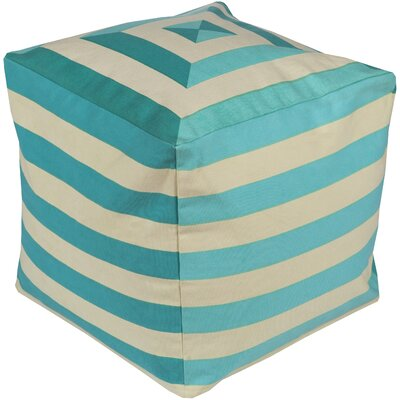 Southington Pouf Ottoman Upholstery: Beige/Teal
