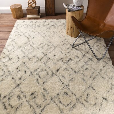 Santos Hand Woven Wool Ivory Area Rug Rug Size: Rectangle 8 x 10