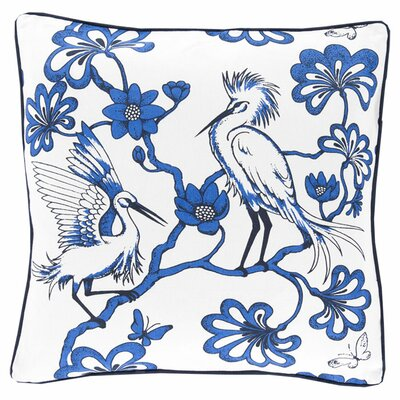 Cherita Cotton Throw Pillow Color: Cobalt, Filler: Down