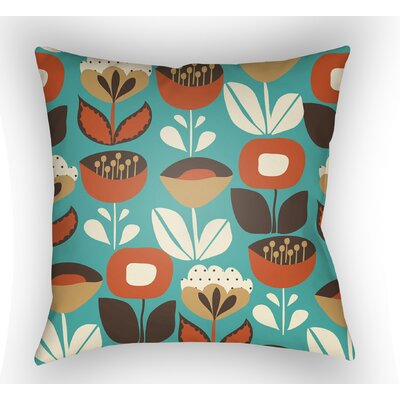 Wakefield Flower Indoor Throw Pillow Size: 18 H x 18 W x 4 D, Color: Turquoise