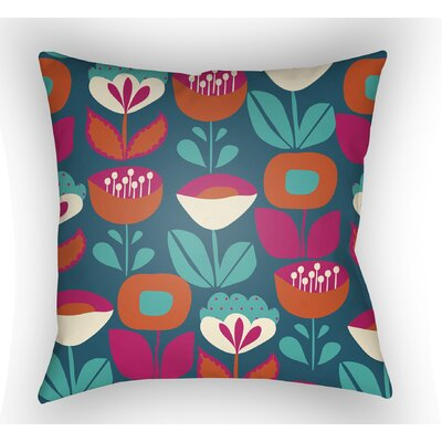 Wakefield Flower Indoor Throw Pillow Size: 20 H x 20 W x 4 D, Color: Blue