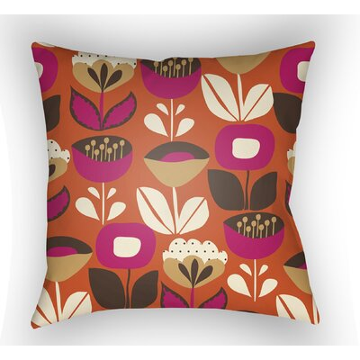 Wakefield Flower Indoor Throw Pillow Color: Orange, Size: 22 H x 22 W x 5 D