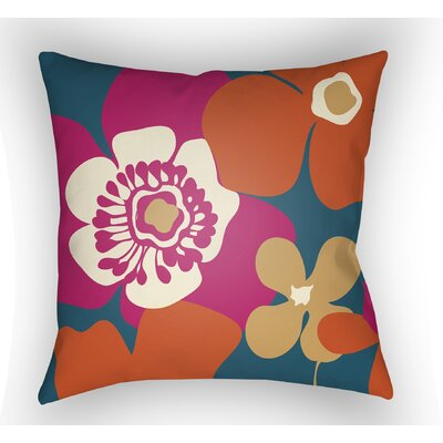 Wakefield Flower Throw Pillow Size: 20 H x 20 W x 5 D, Color: Blue
