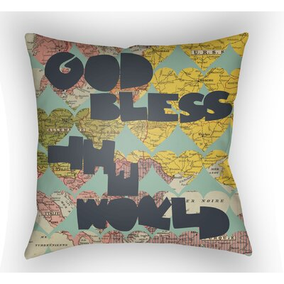 Bainum God Bless The World Throw Pillow Size: 18 H x 18 W x 4 D