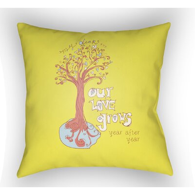 Cherlyn Love Tree Throw Pillow Size: 18 H x 18 W x 4 D, Color: Yellow