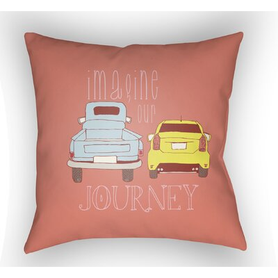 Cherlyn Imagine Our Journey Throw Pillow Color: Coral, Size: 22 H �x 22 W x 5 D