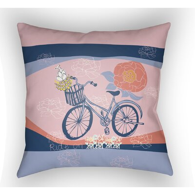 Colindale Bicycle Throw Pillow Size: 18 H x 18 W x 4 D, Color: Pink