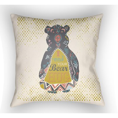 Colindale Bear Throw Pillow Size: 18 H x 18 W x 4 D, Color: White