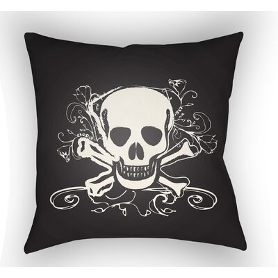 Calindra Skull and Bone Throw Pillow Color: Black, Size: 20 H x 20 W x 4 D
