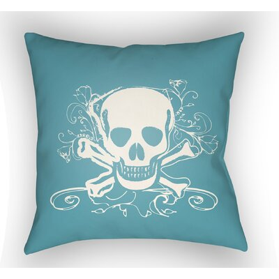 Calindra Skull and Bone Throw Pillow Size: 18 H x 18 W x 4 D, Color: Turquoise