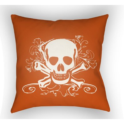 Calindra Skull and Bone Throw Pillow Size: 20 H x 20 W x 4 D, Color: Orange