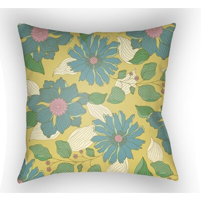 Lyda Flower Throw Pillow Color: Turquoise, Size: 22 H �x 22 W x 5 D
