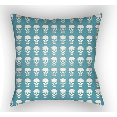 Calindra Skulls Throw Pillow Color: Turquoise, Size: 18 H x 18 W x 4 D