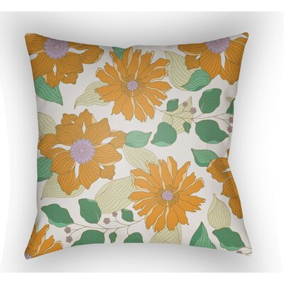 Lyda Flower Throw Pillow Color: Tangerine, Size: 22 H �x 22 W x 5 D