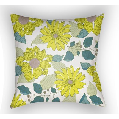 Lyda Flower Throw Pillow Size: 18 H x 18 W x 4 D, Color: Lime