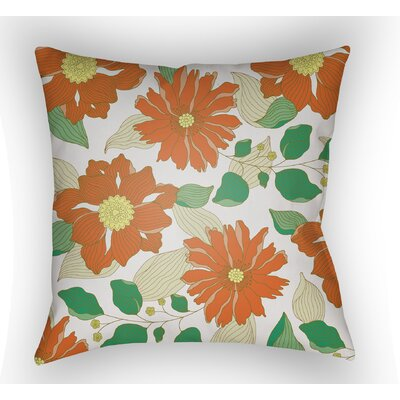 Lyda Flower Throw Pillow Size: 20 H x 20 W x 4 D, Color: Orange