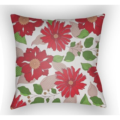 Lyda Flower Throw Pillow Size: 18 H x 18 W x 4 D, Color: Red