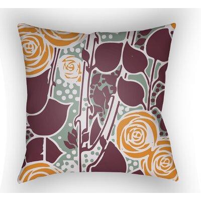 Capron Throw Pillow Color: Burgundy/Orange/Seafoam, Size: 22 H x 22 W x 5 D
