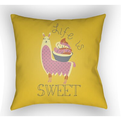 Colinda Life Is Sweet Throw Pillow Color: Yellow, Size: 22 H �x 22 W x 5 D