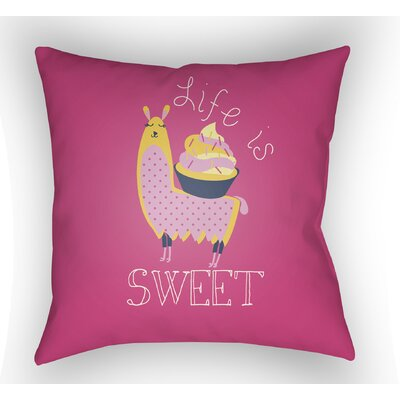 Colinda Life Is Sweet Throw Pillow Color: Magenta, Size: 22 H �x 22 W x 5 D