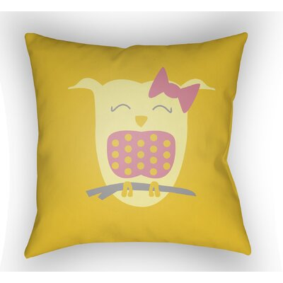 Colinda Owl Throw Pillow Size: 18 H x 18 W x 4 D, Color: Yellow