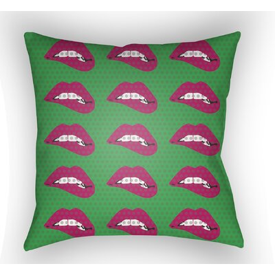 Enfield Lips Throw Pillow Size: 20 H x 20 W x 4 D, Color: Green