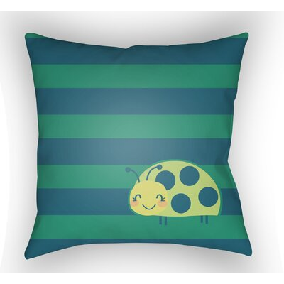Colinda Ladybug Throw Pillow Size: 18 H x 18 W x 4 D, Color: Green/Blue