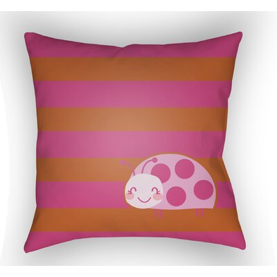 Colinda Ladybug Throw Pillow Size: 18 H x 18 W x 4 D, Color: Pink/Orange