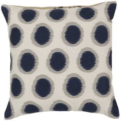Odis Pretty Polka Dot Linen Throw Pillow Size: 18 H x 18 W x 4 D, Color: Papyrus / Navy, Filler: Polyester