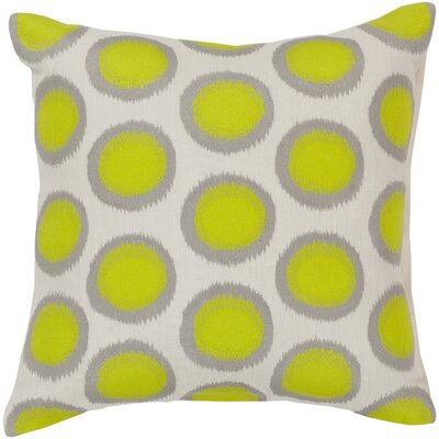 Odis Pretty Polka Dot Linen Throw Pillow Size: 22 H x 22 W x 4 D, Color: Papyrus / Limeade / Pewter, Filler: Down