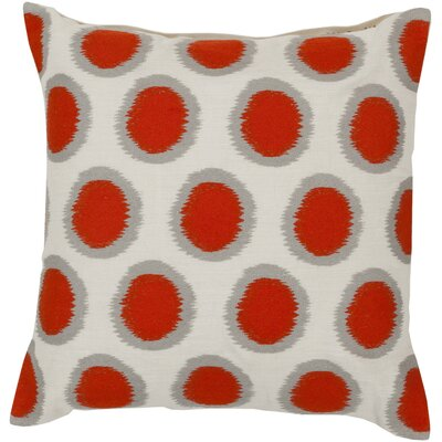 Odis Pretty Polka Dot Linen Throw Pillow Size: 18 H x 18 W x 4 D, Color: Papyrus / Orange-Red / Flint Gray, Filler: Down