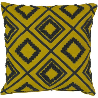 Lindsey Diamond Trimming Throw Pillow Size: 22, Color: Quince Yellow/Pewter, Filler: Down